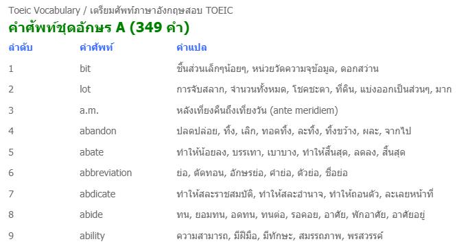 คำศัพท์  TOEIC แปลไทย