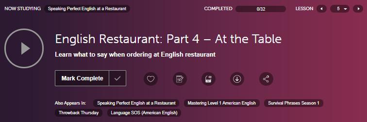 บทสนทนาภาษาอังกฤษในร้านอาหาร